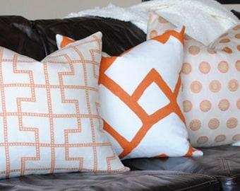 SALE-Ready to Ship-Polka Dot-Designer Pillow Cover-20x20-SILK -Accent Pillow-Throw Pillow-Orange-Tangerine--
