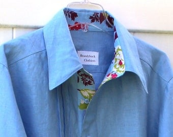 Cool Blue Linen and floral cotton Mens Shirt with French Cuffs Custom and Handmade for You