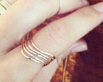 Set of 5 wavy stack rings, hammered,  14k gold filled, 14k rose gold filled, sterling silver