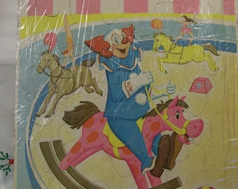 Vintage Bozo Puzzle Larry Harmons TV Bozo on Merry Go Round 1960s