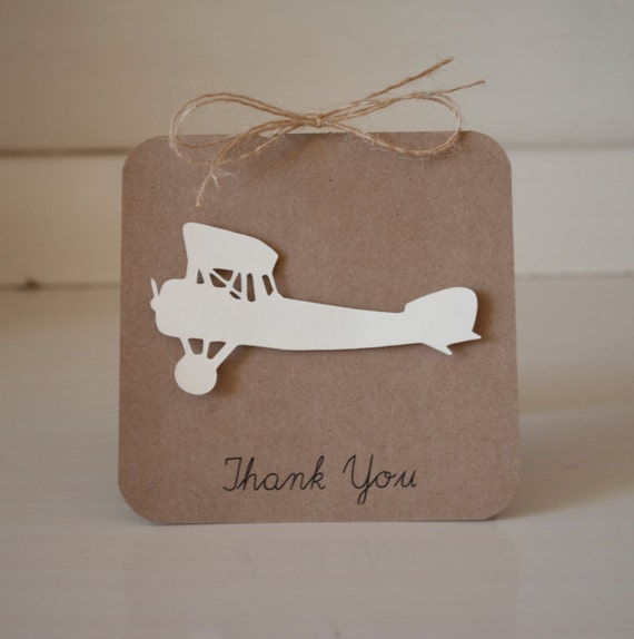 Vintage Baby Shower Thank You Cards: Items Similar To Airplane Baby Shower Thank You Cards