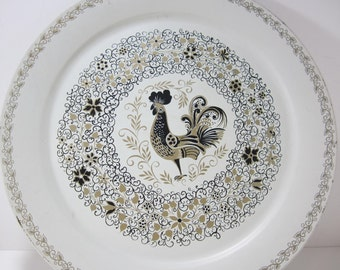Vintage Round Tray, Metal Serving Tray with Maxey Rooster, Decorative Tray, Extra Large Round Serving Tray, Chicken, White Black and Gold