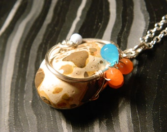 Leopardite brown cream spotted silver pendant hand wrapped with Blue Topaz and Carnelian, with silver chain!