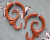 AIKA - Hand Carved Earrings - Tribal Fake Gauges - Natural Tan Saba Wood