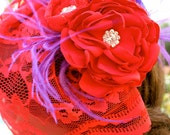 Vibrant RED Headpiece, Red Hat Society, Red birdcage veil by Vegas Veils