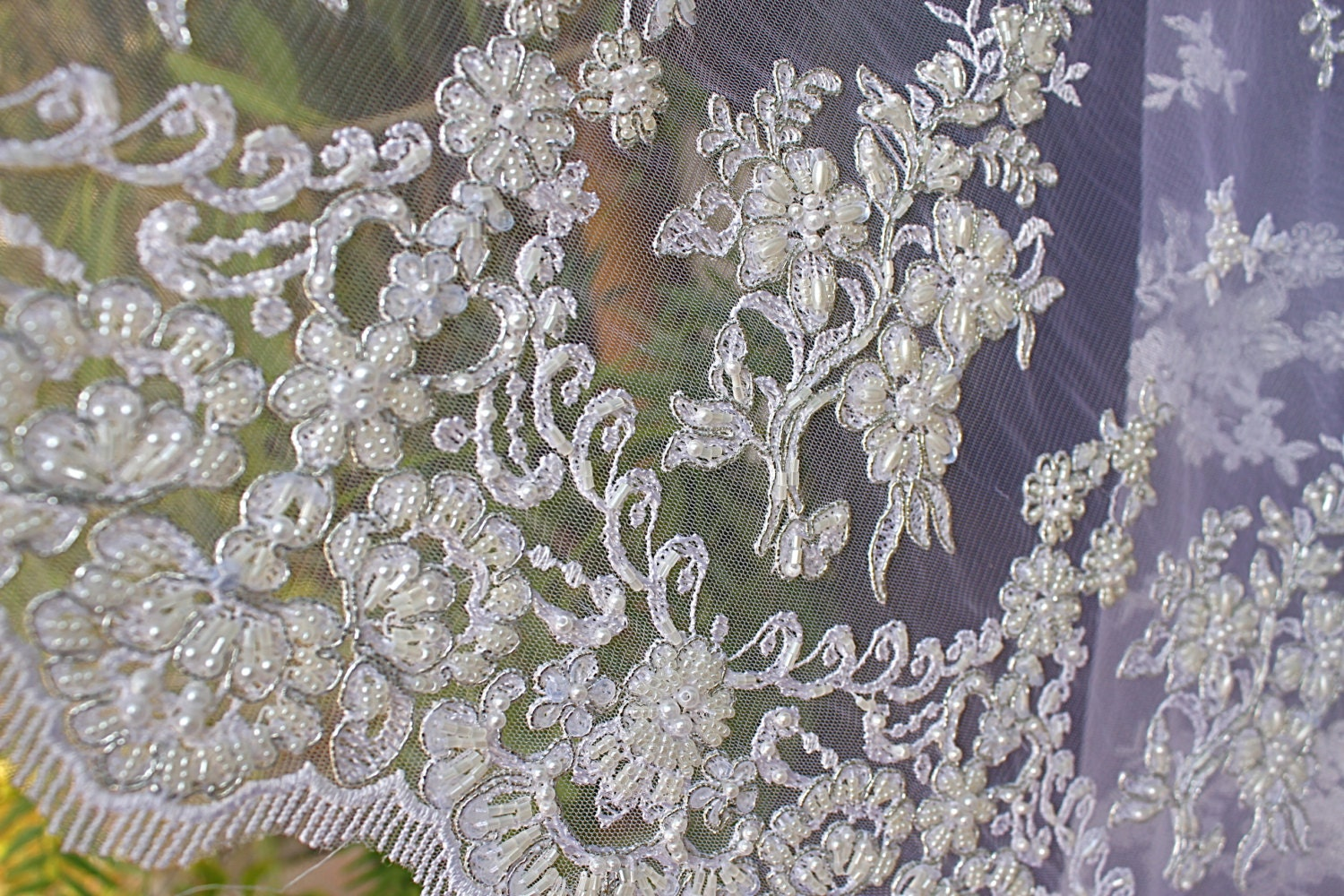 beaded lace white fabric beaded pearls sequin