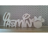 Disney font freestanding childrens name plaque with Mickey or Minnie - Wooden MDF
