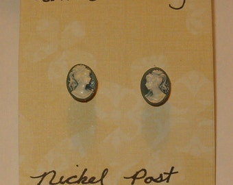 Theresa's Tiny Vintage Button Cameo Earrings, Blue with Nickel Posts, Wedding, Celebration Gift