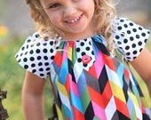 Geometric Mod Dot Peasant Style Dress with Button Accents