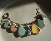 RESERVED FOR ANGELA Sea Pottery from Rhodes, Greece, broken China Charm Bracelet
