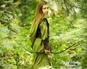 Preteen Girl's Tauriel The Warrior Elf Costume: Dress With Hood, Belt, Arm Bracers, & Armor Vest, Preteen Size 11 - 13