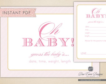 INSTANT PDF, Girly Pink Oh Baby Game, Baby Shower Sign and Cards, Guess Date, Time, Length, Weight, Printable, Download Now