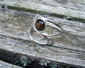 Elven Style Adjustable Sterling Silver and Tigers Eye Ring
