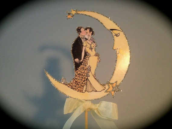 Art Deco Moon Cake Topper : Deco Wedding Cake Topper -Crescent Moon - Silver Glitter