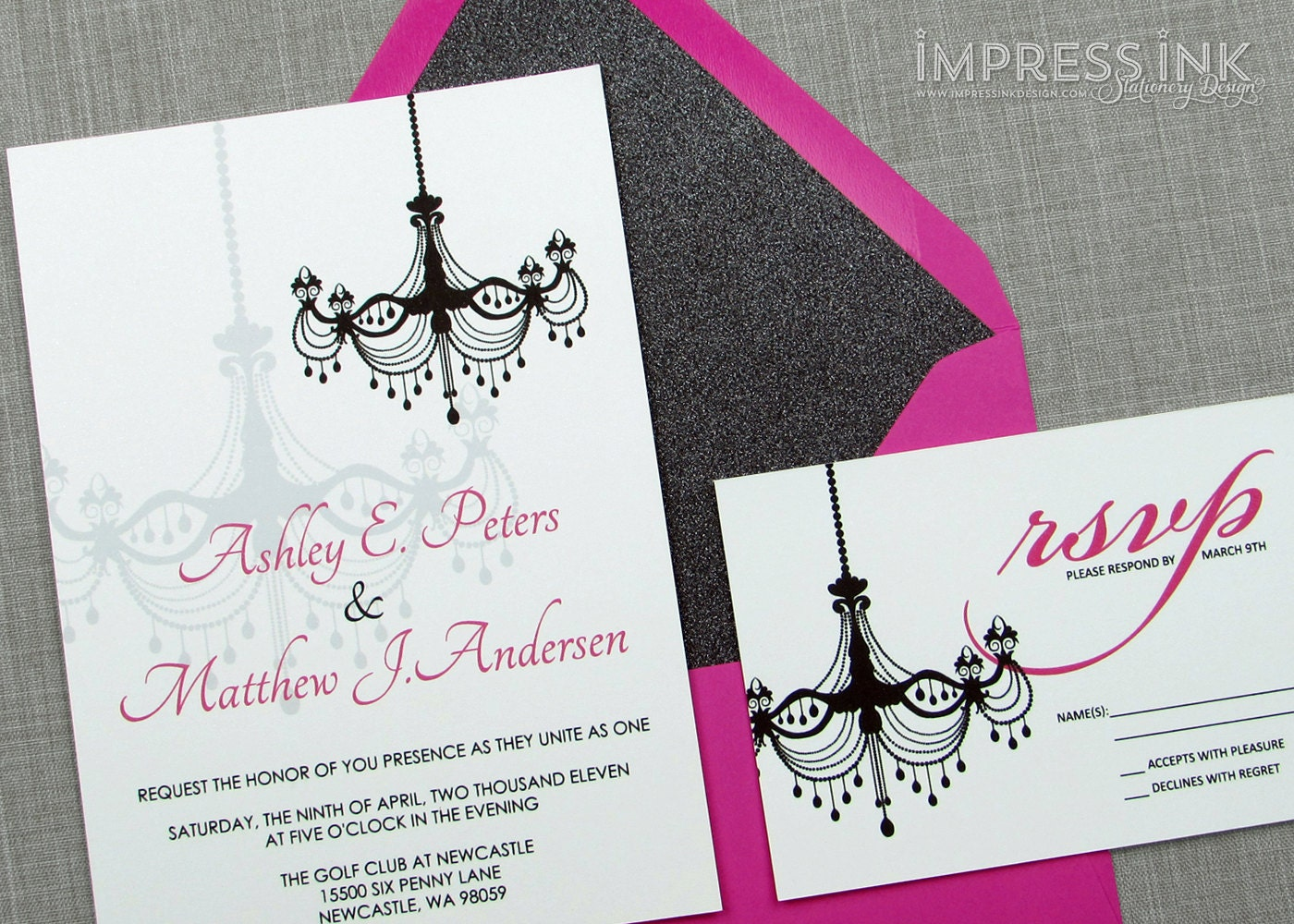 Chandelier Wedding Invitations: Modern Victorian Chandelier Wedding Invitation Sample Flat