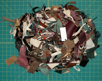 Grab Bag: Small Leather Scraps and Trimmings, Various Leather Remnant Pieces, 8oz / 225g