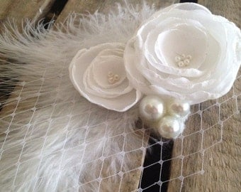 Wedding Hair Fascinator Shabby Chic White Chiffon Flower Clip