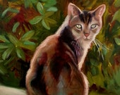 "Le Chat -  Original Oil on Canvas Painting of a Brown Cat Kitty  - 16""x20"" - Animal"