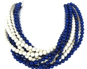 Multi Color WHITE and Navy Torsade Necklace -  Nautical Statement Necklace
