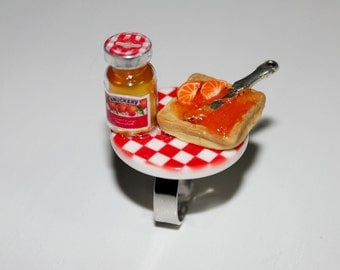 Breakfast Ring - Marmalade Toast Ring - Food Ring - Miniature Food Jewelry