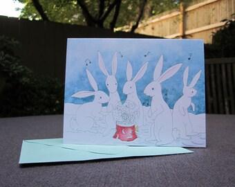 Winter Rabbits Holiday Cards - Set of ten