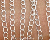 By the YARD - 5x4mm SILVER Oval Twist Link Metal CHAIN - Iron Cable Side Twist Chain by the Yard - Usa Wholesale Chains - Instant Ship