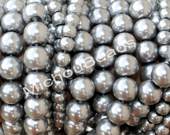 """BULK 32"""" Strand - 6mm GREY Round PEARL Glass Beads - Opaque Pearlised Crystal Bead by the Strand - USa Wholesale - Instant Ship - 074 / b97"""