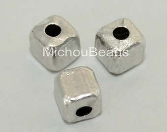 25 Brushed Antiqued SILVER 4mm CUBE Seed Beads - 4x4mm w/ Large 1.5mm Hole Boho Tibetan Style Square Spacer Nickel Free Metal Beads - 5636