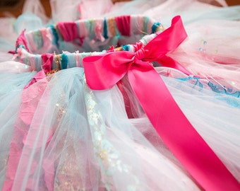 Pink, Aqua, Teal and Gold Fabric, Lace and Tulle Tutu Photo Prop for Cake Smash or Special Occasion