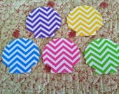 24  SCALLOP SEASHELL chevron purple, pink, yellow, blue,green paper punch, die cuts, 2 AND 1 fourth inch i