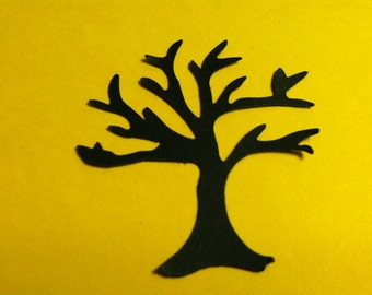 25 Hand Punched BLACK TREE  Die cuts  2 inch for Confetti, Birthday party decorations,Invitations,scrapbooking,