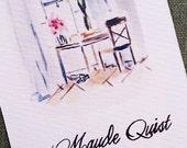Interior Desk Watercolor Business Card, Set of 50