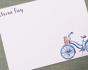 Vintage Bike with Basket and Dog, Small Flat Note, Personalized, Set of 15