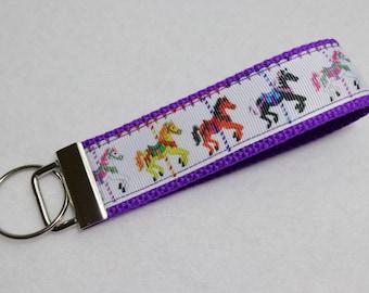 Key Fob/ Wristlet/ Keychain/Pink / Carousel Horses print  /Ready to Ship