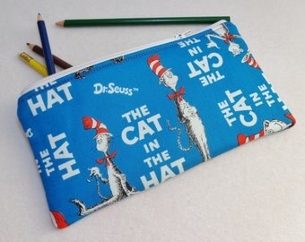 The Cat in the Hat print Pencil Case/ Crayon Case/Makeup Bag/ Cosmetic Case/ Ready to Ship