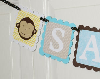 Monkey Name Banner, Birthday Party, Monkey Theme, Baby shower Name Banner, Brown,Yellow, white and Light Blue Turquoise