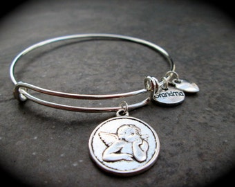 Guardian Angel adjustable wire bangle bracelet with  Heart Charm choice of  Daughter Friends Mom Mother Sister Aunt Grandma charms gift