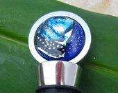 Wine Bottle Stopper – Winter Moon- Fused Glass Cabochon with 304 Kitchen Grade Stainless Steel