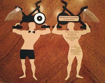 Strong Man with Spin Bike Custom Invitations - Muscle Man Save the Dates - Bike Invitations - Wedding Save the Dates - Wedding Invitations