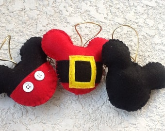 Mickey mouse felt ornament Merry christmas set of 3
