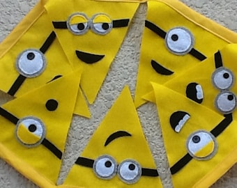 HAPPY MINNIONS / themed Felt party Banner/party supplies/room decor
