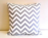 CLEARANCE Ash Gray Chevron Decorative Pillows Cover. 16 X 16 Inch Couch Pillow Cushion Cover.