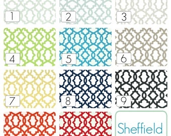 Sheffield Trellis Curtains. Pair of two 63, 84, 96, 108, 120 Lengths. Blue, Gray, Yellow, Black, Blue Window Treatments. Drapery Curtains.