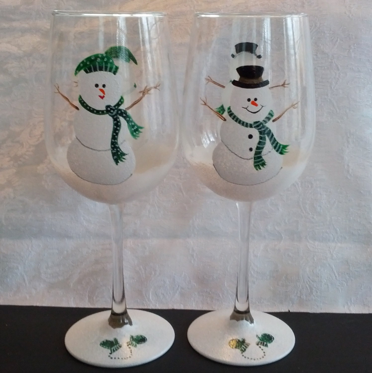 Boy And Girl Painted Snowman Wine Glasses