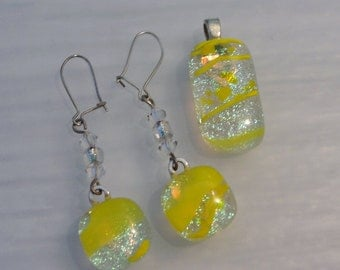 Dichroic Fused Glass Pendant Earring Set Dangle Earrings Women Accessories Yellow Dichroic Jewelry Birthday Anniversary Gifts Under 30