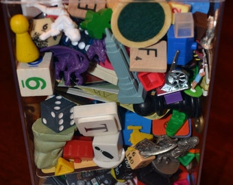 Game Piece Destash Lot, Closeable Plastic Container, 2 Pounds of game pieces ranging from the 50's to current