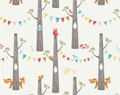 "Organic Fabric Cream Forest Animal Owl and Fox - ""Woodland Party"" Circa 52 by Monaluna from Birch 1/2 Yard"