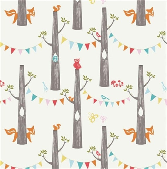 "Organic Fabric Cream Forest Animal Owl and Fox - ""Woodland Party"" Circa 52 by Monaluna from Birch 1/2 Yard"