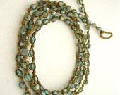 ON SALE Wrap Bracelet Necklace, Iridescent Blue-Green & Gold, Double Knotted Necklace, Made to Order
