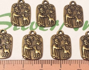 16 pcs per pack 16x14mm St. Francis Charm Antique Bronze Lead free Pewter